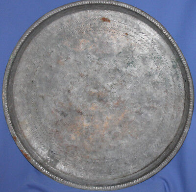 Antique 19c hand made large tinned copper baking dish platter