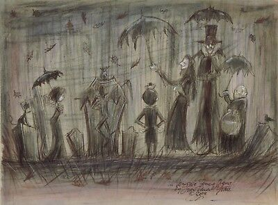 VAMPIRE FAMILY OUTING Cemetery Halloween Signed Print  by JOHN RANDALL YORK