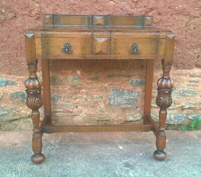 Superb Carved Oak Side Table / Vintage Writing Table ( Delivery Quote 👍 )