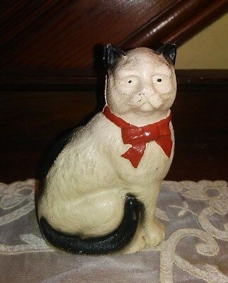 """Antique Hubley Figural White Cat with Red Bow Tie Cast Iron Bank 4.25"""" Tall"""