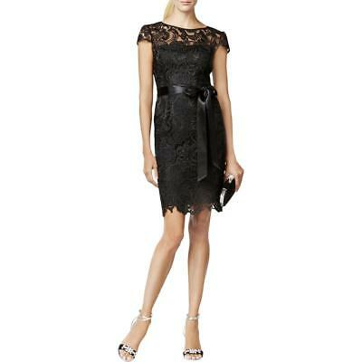 Adrianna Papell Womens Black Illusion Lace Sheath Party Dress Size 2 #C551 $189