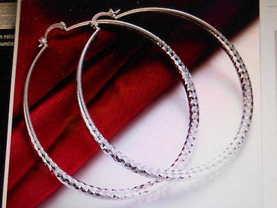 "925 Sterling Silver Plated Diamond Cut Hoop  Earrings 2"" Inch  Gift Box Included"