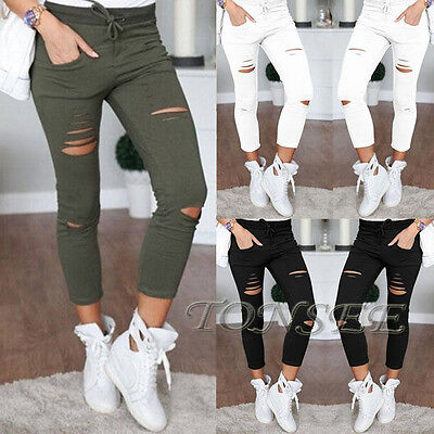 Women Denim Skinny Ripped Pants High Waist Stretch Jeans Slim Pencil Trousers UA