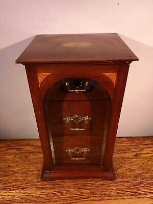 A SIMPLY CHARMING SMALL INLAID & GLAZED EDWARDIAN TABLE CABINET c.1905