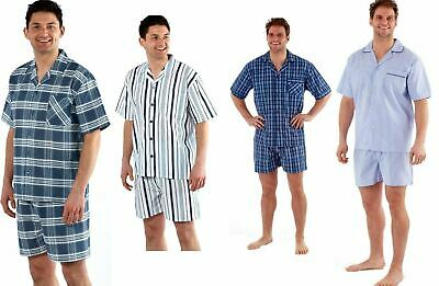Mens Yarn Dyed Woven Pyjama Set Regular Check Cotton Blend Shorts M-XXL