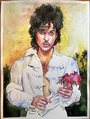PRINCE ROGERS NELSON Original painting authentic Purple Rain rose One of a kind