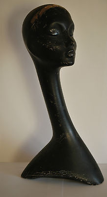 Black 1950's Hat Millinery Swan Neck Mannequin Head