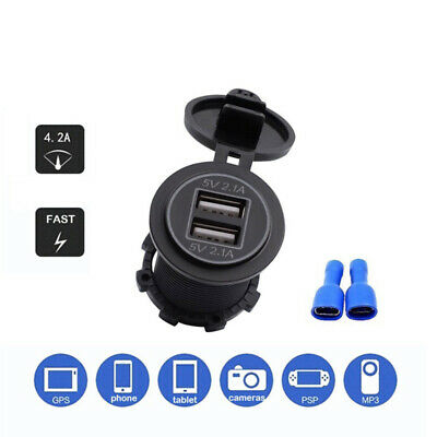 Fast Power 12V/24V Car Charger Dual Port USB Power Outlet Motorcycle Charging