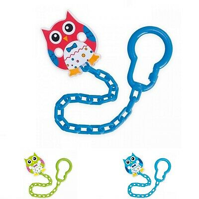 Beautiful Dummy Clip Baby Shooter Chain Holder Pacifier Strap BPA Free, Owls