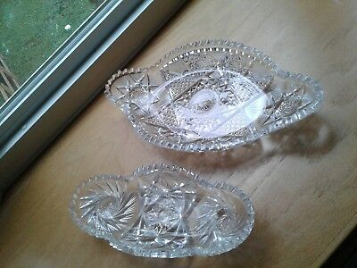 2 Brilliant Cut Glass ABP Ice Cream or Relish Oval Platter Trays