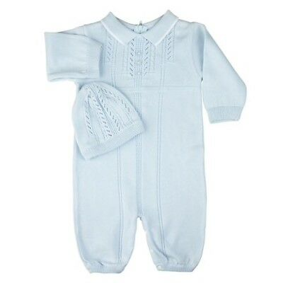 cd03ec9b1068 NB, 6M Vint Style Feltman Brothers Boy Knit Cotton Longall Romper & Hat +  Gift