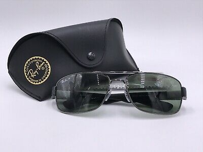 42d6d87e72fe6 Ray Ban RB3522 004 9A Gunmetal  Polarized Green Classic G-15 AUTHENTIC Italy