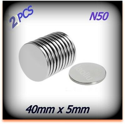 2 Pcs Neodymium Magnet Round Disc magnets Dia 40mm x 5mm N50 Rare Earth