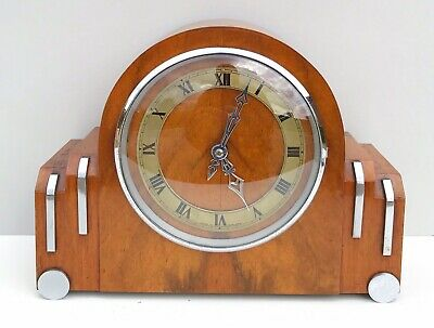 Art Deco Smithselectric Walnut Westminster Chiming Mantle Clock