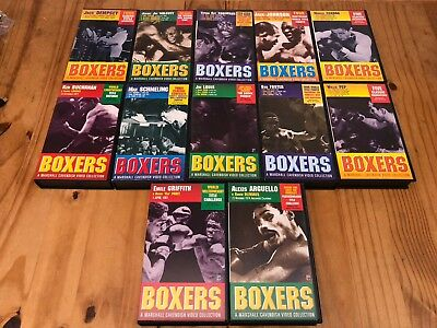 12x Boxers Boxing VHS Cassette Tapes - Dempsey, Walcott, Robinson, Johnson - GE