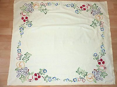 Stunning Cream Vintage Hand Embroidered Tablecloth Florals Fruit, Leaves