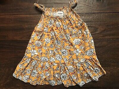 5c9d3fa3 3T Adorable Old Navy Ruffled Yellow Floral Swing Top Shirt Girl EUC Summer
