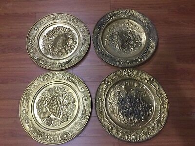 "Lot of 4 Vintage Peerage Embossed Brass Wall Plate ,14"" ,Made in England"