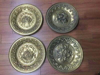 "Lot of 4 Vintage Peerage Embossed Brass Wall Plate ,12"" ,Made in England"