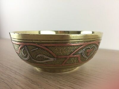 Vintage/Antique Polished Solid Brass Cairo Ware Bowl/Dish with Silver and Copper