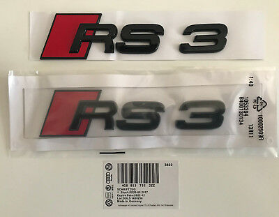 Audi RS3 Rear Boot Badge Trunk Emblem Sticker Logo Lettering Gloss Black AU1