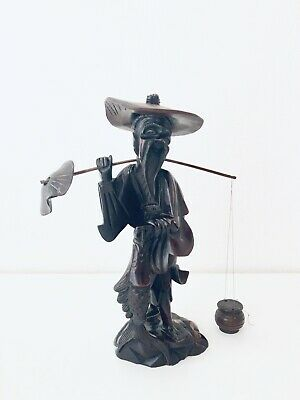 """Antique Rare Hand Carved 11-1/2"""" Tall Chinese Wooden Fisherman Sculpture Figure"""