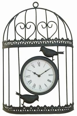 Gardenwize Garden Outdoors Wall Mountable Metal Vintage Bird Cage Clock - Black