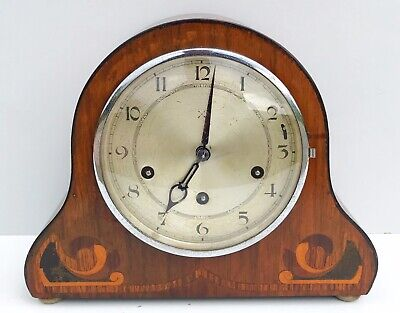 Art Deco HAC Walnut Quarter Chiming Mantle Clock