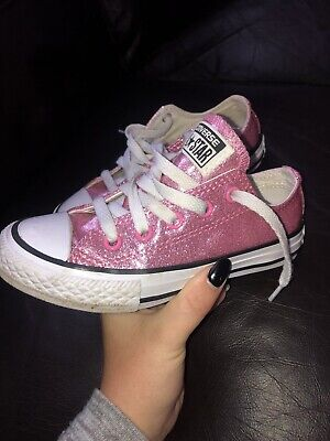 a79c5e28abcd Kids Converse Size 11 Pink Glitter All Star Ox Junior Girls Trainers Clean  Youth