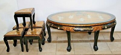 Vintage Asian Black Gold Leaf Mother of Pearl Oval Coffee Table & Five stands