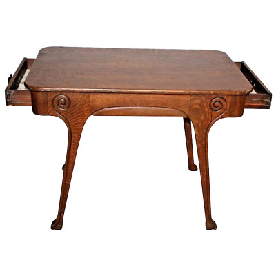 Antique oak Mission/Arts and Crafts carved  library/center table two drawers