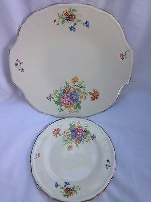 Vintage Alfred Meakin Cake Serving Plate and Cake Side Plate Flower Gold Detail