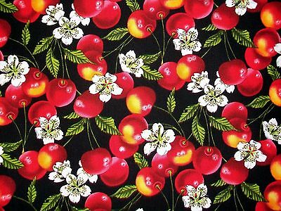 CHERRIES AND CHERRY BLOSSOMS COTTON FABRIC - INDULGENCE by HOFFMAN