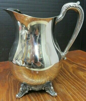 "Vintage English Silver Mfg. Corp Footed Pitcher w/ Ice Lip 9.5"" x 5.13"" Excell"