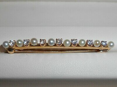 Vintage 14K Yellow Gold Diamond And Pearl Bar Brooch Pin