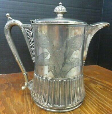"Antique Etched Meridan Quadruple Plate Coffee Pitcher 10.75"" x 6.5"" x 11"" V.G."