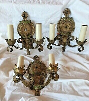 Antique Art Nouveau Victorian Set Of 3 Cast Iron Double Arm Wall Sconces