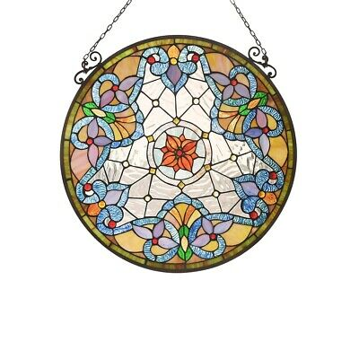 """Victorian Round Stained Glass Hanging Window Panel Tiffany Style Suncatcher 24"""""""