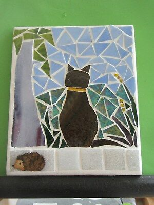 "Stained Glass Mosaic ""Cat on the wall"" ,"" handmade"