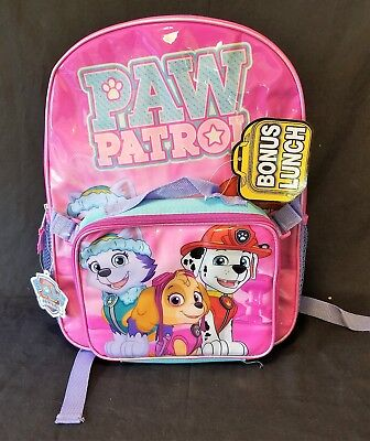 Paw Patrol Girls Backpack and Detachable Lunch Pack Combo ~ New w/ Tags