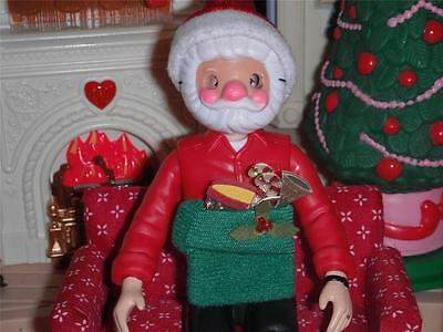 Dollhouse Christmas Santa Mask Hat and Elf Bag fits Fisher Price Loving Family