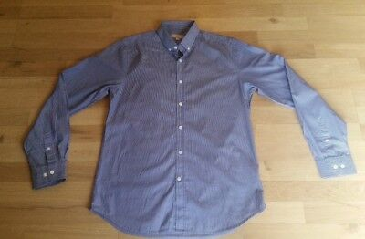 Men's GANT Elliot Fitted 2 Ply Blue Striped Cotton Shirt Size Medium *Free P&P*