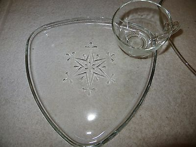 """2 Vtg Indiana Glass """"Snowflake"""" Clear Snack Sets - Atomic Triangle - Mid-Century"""