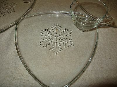 """3 Vtg Indiana Glass """"Snowflake"""" Clear Snack Sets - Atomic Triangle - Mid-Century"""
