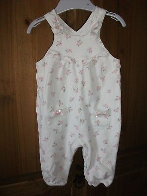 Girls White Floral Print Sleeveless All in One / Playsuit Age 3-6 Months
