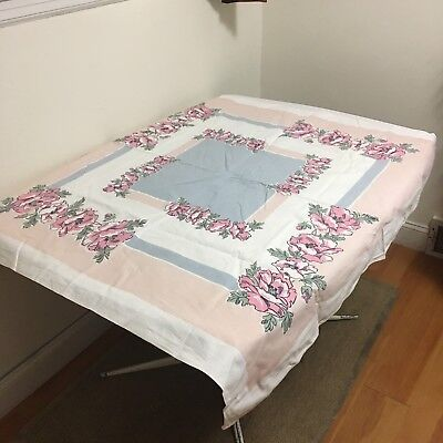 "VTG 1940s 1950s Printed Table Cloth 48"" X 46"" Cotton Floral Pink Grey Blue Green"