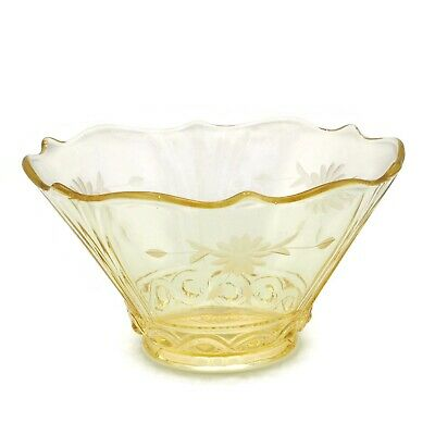 Vintage Lancaster Pauline Pattern Yellow Depression Glass Small Bowl 6.5 Inch