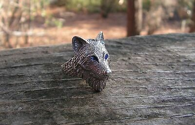 Wolf Ring With Blue Eyes In Sterling Silver