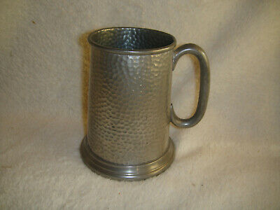 Arts & Crafts Hammered Sheffield Pewter Tankard - John Taylor & Co London