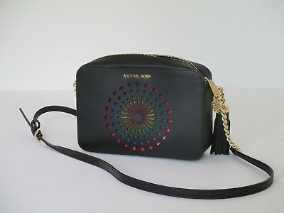 b3553ac80 NEW Michael Kors Ginny Medium Camera Crossbody Lights Up Purse Black Leather